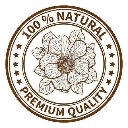 eco notice: Stamp with the flower of peony and the text 100% natural, premium quality