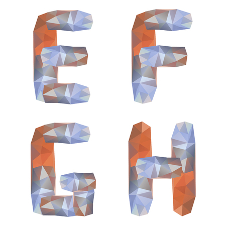 Geometric crystal alphabet. Letters E, F, G, H photo