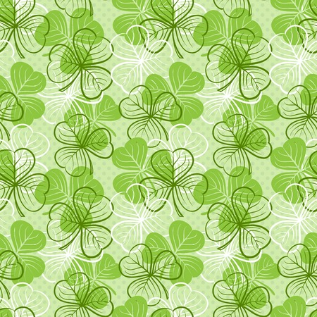 Seamless floral pattern with three leaf clover photo