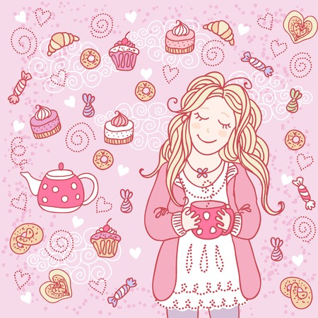 Girl with a cup of tea and many delicious sweets photo