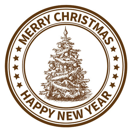Christmas and New Year stamp with the Christmas tree photo