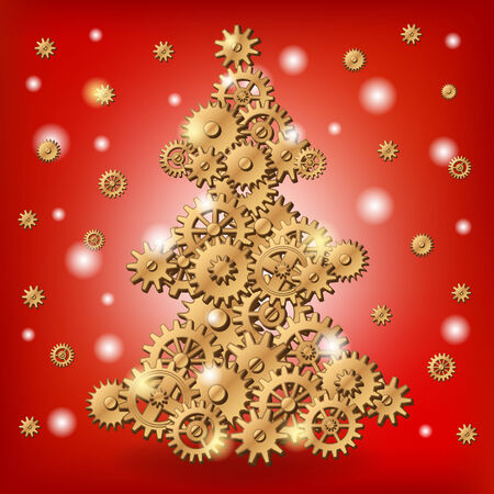 Mechanical Christmas tree made of golden cogs and gears photo