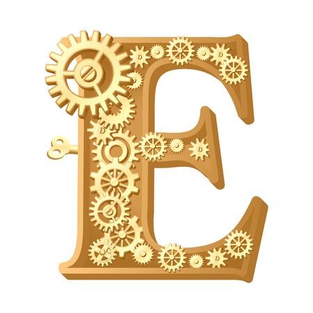 e alphabet: Mechanical alphabet made from gears. Letter e