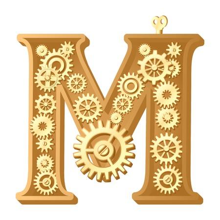 Mechanische alfabet gemaakt van tandwielen. Letter m