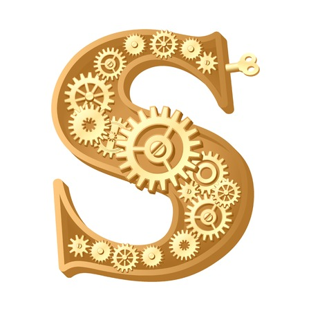 Mechanical alphabet made from gears. Letter s Stock Photo