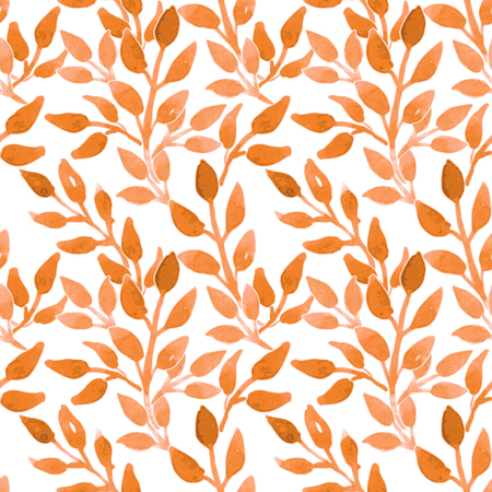 Watercolor seamless floral pattern with cute leaves