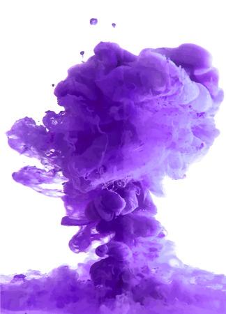 Violet cloud of ink swirling in water. Abstract background Ilustração