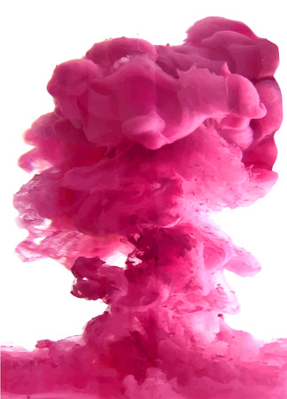 Pink cloud of ink swirling in water. Abstract background