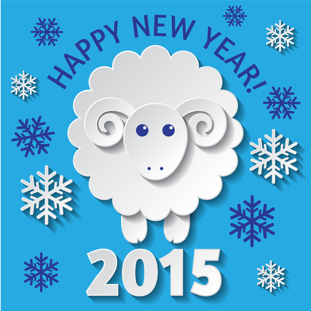 New Year greeting card with a cute Sheep, symbol of new year 2015 Vector