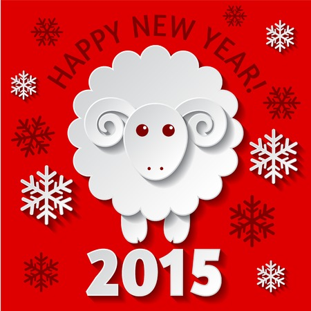 New Year greeting card with a cute Sheep, symbol of new year 2015 Çizim