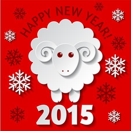 chèvres: Nouvelle carte Ann�e de voeux avec un mouton mignon, symbole de la nouvelle ann�e 2015 Illustration