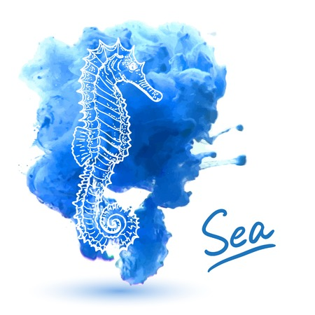 Seahorse on a watercolor background. Original hand drawn illustration
