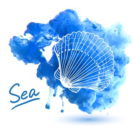 水彩背景に海のシェル。オリジナル手描き下ろしイラスト  イラスト・ベクター素材