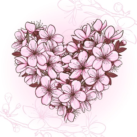 Cherry blossom in the shape of heart. Decorative floral illustration of sakura flowers