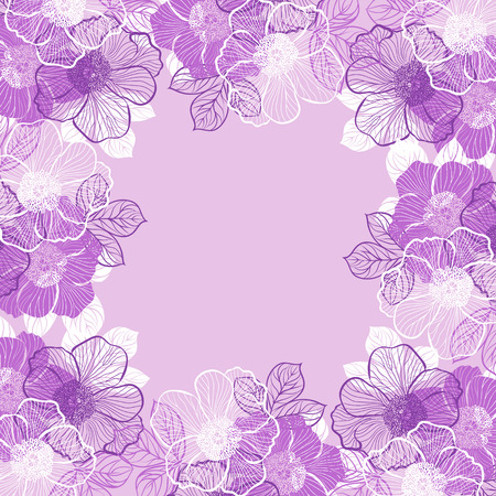 purple wallpaper: Decorative floral background with flowers of peony Illustration
