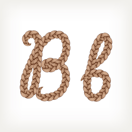 Braids font. Alphabet made from hairstyle plaits. Letter B