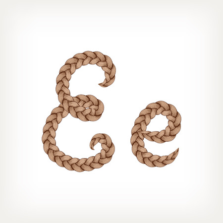 tress: Braids font. Alphabet made from hairstyle plaits. Letter E