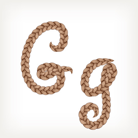 Braids font. Alphabet made from hairstyle plaits. Letter G