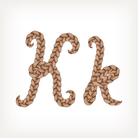 plaits: Braids font. Alphabet made from hairstyle plaits. Letter K Illustration