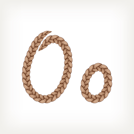 plaits: Braids font. Alphabet made from hairstyle plaits. Letter O Illustration