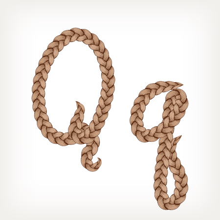 Braids font. Alphabet made from hairstyle plaits. Letter Q