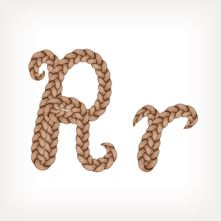 hairdo: Braids font. Alphabet made from hairstyle plaits. Letter R Illustration