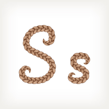 Braids font. Alphabet made from hairstyle plaits. Letter S Illustration