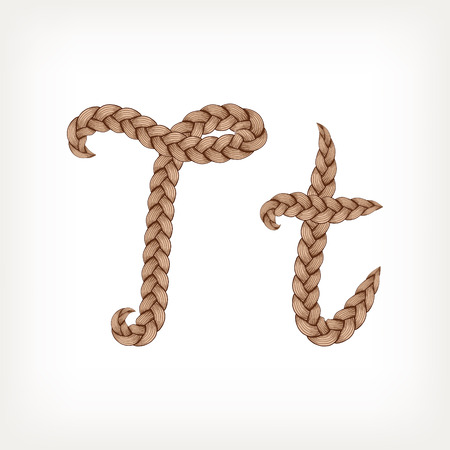 Braids font. Alphabet made from hairstyle plaits. Letter T
