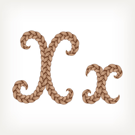 tress: Braids font. Alphabet made from hairstyle plaits. Letter X