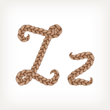 Braids font. Alphabet made from hairstyle plaits. Letter Z