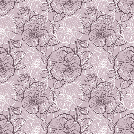 pansy: Seamless floral pattern with flowers of pansy Illustration