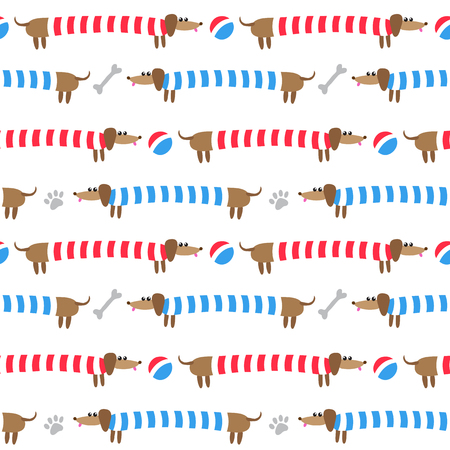 red white blue: Seamless pattern with cute dachshunds in striped clothing Illustration
