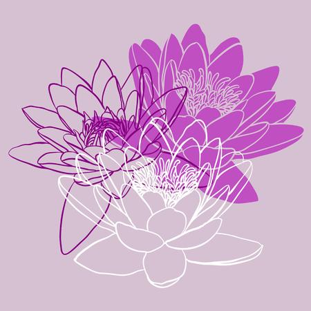 silhouette fleur: Décoratif fond floral avec des fleurs de nénuphar
