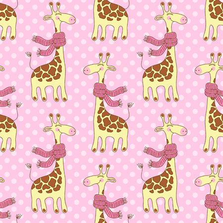 scarves: Seamless pattern with cute giraffes with scarves Illustration