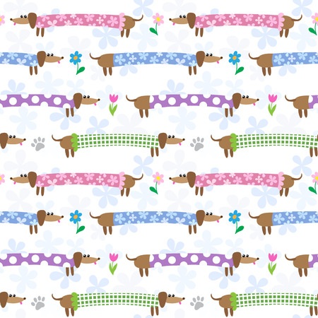 badger dog: Seamless pattern with cute dachshunds in striped clothing Illustration