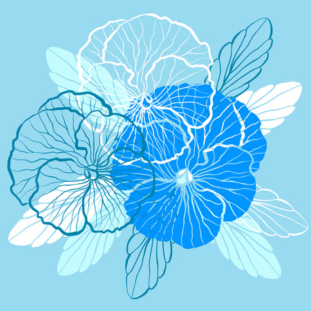 pansy: Decorative floral background with flowers of pansy Illustration