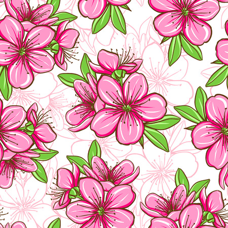 cherries: Decorative floral seamless pattern with cherry blossom. Raster version.
