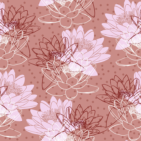 water lilies: Seamless pattern with water lilies