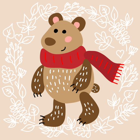 cute animal: Cute bear on leaves background illustration Illustration