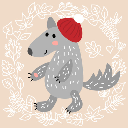 fur cap: Cute wolf on leaves background illustration