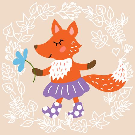 Cute fox on leaves background illustration Vetores