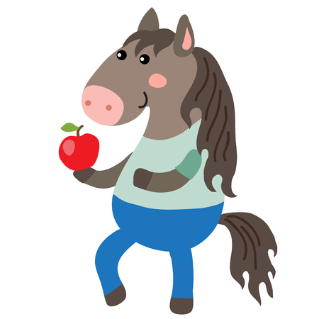 cute animal: Cute cartoon horse