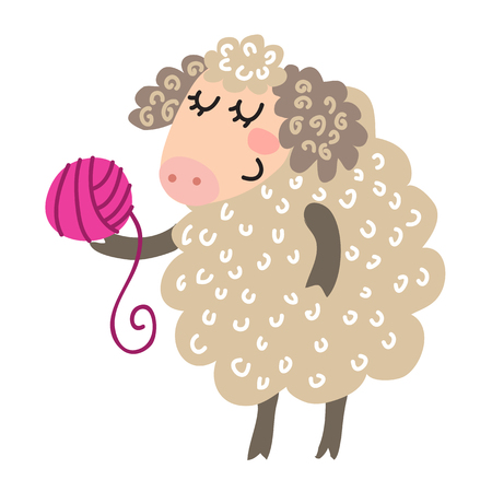 cute animal: Cute cartoon sheep