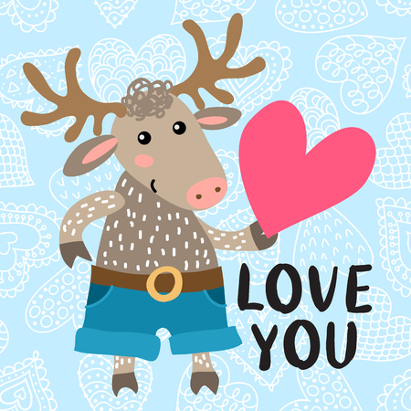 Valentines day greeting card with cute deer Illustration
