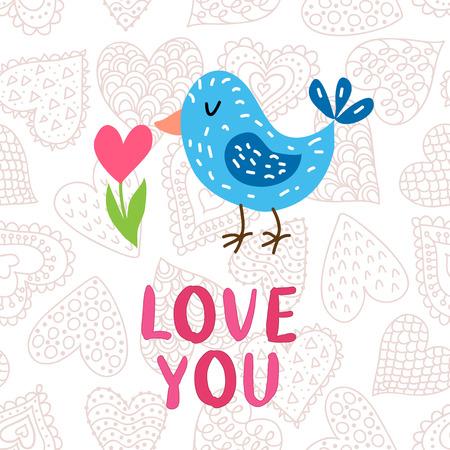 Valentinstaggrußkarte mit Vogel Standard-Bild - 93403188