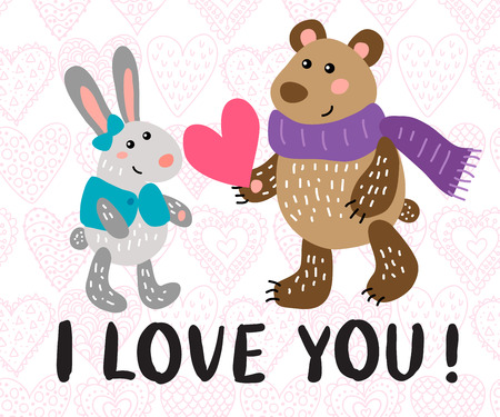 Valentines day greeting card with rabbit and bear