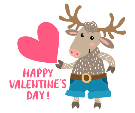 Valentines day greeting card with deer