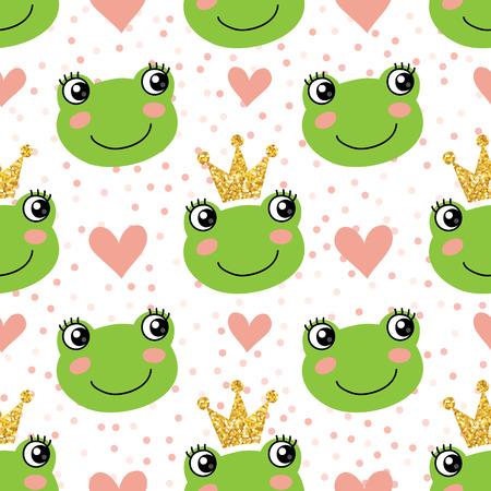 귀여운 개구리와 크라운과 원활한 패턴
