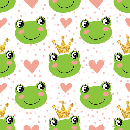 Seamless pattern with cute frogs and crowns Vectores