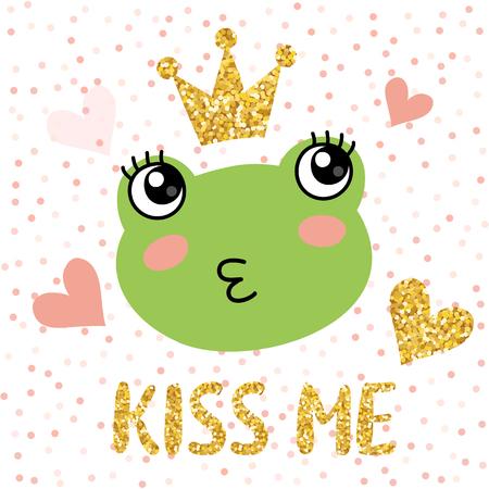 Cute frog with golden glittering crown vector illustration Иллюстрация